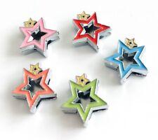10PCs 8mm Enamel Double Hollow Star Slide Charms Fit 8mm Collar belts Bracelets