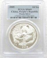 2005 China Panda 10 Ten Yuan Solid .999 Silver 1oz Coin PCGS MS69