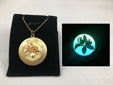 Golden Lotus GLOW in the DARK Flower Bronze Photo Locket Necklace Pendant