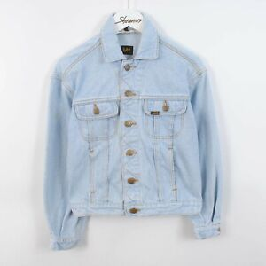 Vintage Womens LEE Rider Denim Trucker Jacket Light Blue Size 6-8 XS/S Retro