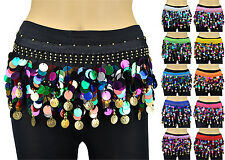 6 PCs Multi Color Sequins Coins Belly Dance Scarf Belt Hip Skirt Wrap Chiffon