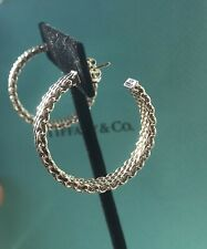 "Tiffany & Co. Sterling Silver Somerset Mesh 1.25"" Hoop Earrings"