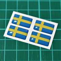4x Sweden Swedish Flag Domed Stickers - High Gloss Raised Gel Finish