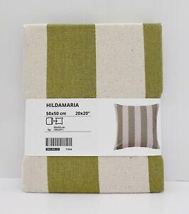 "Ikea HILDAMARIA Pillow Cushion Cover Cotton 20"" x 20"" Green Natural/Stripe - NEW"