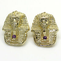 Mens 4.50 Grams 14k Real Yellow Gold Amethyst King Tut Pharaoh Earrings Studs