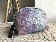 Christian Lacroix Lucie Clamshell Pouch multi color glitter make up bag New