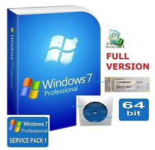 Windows 7 Professional 64 bit SP1 DVD Full Version & License Product Key PRO 10