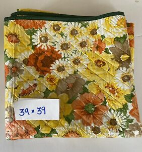 Vintage CARD TABLE COVER Fitted Snaps Quilted Vinyl Floral bridge Reversible NOS