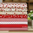 """Red Series 8 Assorted Pre-Cut Charm Cotton Quilt Fabric 17.7"""" Fat Quarters"""