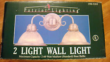 NOS Patriot Lighting 2 Lamp Wall Light Fixture Nickel/Clear Glass Sconce 3503261