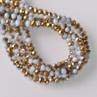 500pcs 3x2mm Rondelle Faceted Crystal Glass Loose Beads Gold&Opaque White