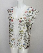 NEXT white floral Satin sleeveless Lace V neck loose Blouse Top Tunic size 6
