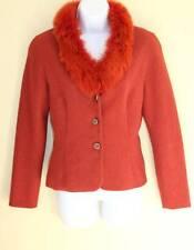 KAY UNGER Sz 8 Elegant Vivid Rust Orange Dyed Fox Fur Trim Jacket Blazer