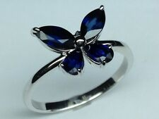1.40 CTW Mixed Cut Blue Sapphire Butterfly Ring