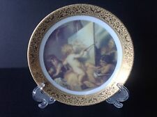 """Limoges France Small Figurative Dish """"Putti Painting"""" 22 K Gold with Stand"""