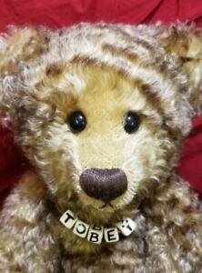 "Sandra Dineen ""Tobey"" Sandy'sBearlyBruins 17"" artist teddy bear backpack tipped"