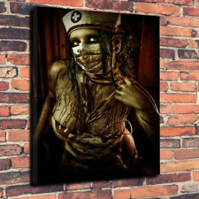 """Twisted Nurse"" Horror -  Printed Canvas Picture A1.30""x20""30mm Deep Wall Art"