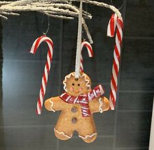 Gingerbread Man Christmas Tree Decoration Fake Iced Cookie Biscuit Traditional