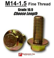 M14-1.5 x (Choose Length) Grade 10.9 Metric Flange Bolts Yellow Zinc Fine Thread
