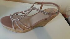 BNWT NUDE EMBELLISHED   STRAPPY WEDGE SHOES NEW-LOOK.SZ UK 9/43  !