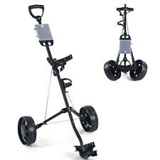New Foldable 2 Wheel Push Pull Golf Cart /Cup Holder Trolley Swivel Steel Light