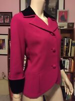 Vintage 1950s DON LOPER BEVERLY HILLS WOOL VELVET TAILORED FITTED CROP JACKET M