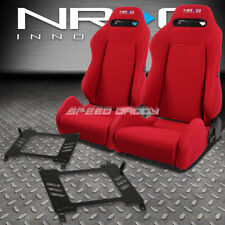 NRG TYPE-R RED RECLINABLE RACING SEATS+BRACKET FOR 03-08 NISSAN 350Z Z33 VQ35 Z