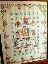 Vintage Needlepoint Sampler Cross Stitch Linen - Antique Framed - Great Colors