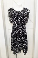 Chico's Black/ White Polka Dot Fit And Flare Dress Size 0 Small NWT