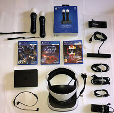 Bundle Sony Ps4 VR Headset+camera,+ 2 PS Move controllers+3 games +charging dock
