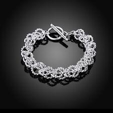 Damen Armband 925 Sterling Silber plattiert Armkette Seil-Kette Bracelet Charme.