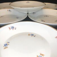"SRS China Soup Salad Bowls Set of 6 Gold Trimmed Brazil 8.5"" Diameter circa 1958"