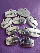 """10 x SILVER """"BLESSINGS"""" Word Charms Pendant Pagan Wiccan 21mm"""