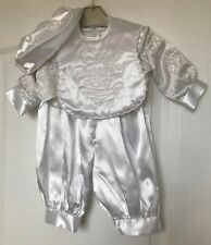 Baby Boy's White Christening Romper Outfit, 4 Piece Set, Age 6-9 Months