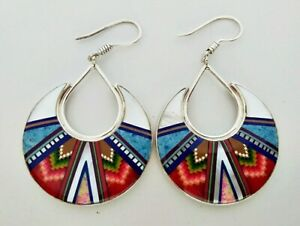 REVERSIBLE MULTICOLOR TURQUOISE SPINY OPAL INLAY .925 SILVER DANGLE EARRINGS