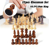32PCS Wooden Carved Chess Pieces Hand Crafted Set Large King Size Kid Toys White