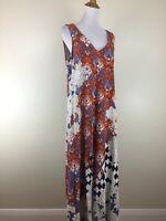 SOFT SURROUNDINGS Womens Sz Medium Multi-Color Mixed Print Sleeveless Maxi Dress