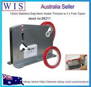 Stainless Steel Bag Neck Sealer w Trimmer,Tape Dispenser,Bag Neck Sealer-98211