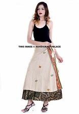 Beige Flower Long Indian Wrap Around Reversible Double Layered Skirt Silk Boho