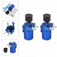 2X Blue Oil Catch Can/Tank Reservoir Breather +Filter Kit Cylinder Aluminum