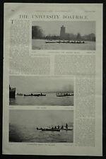 Oxford Cambridge University Boat Race 1898 2 Page Photo Article
