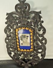 "ANTIQUE VICTORIAN CAST IRON w/GILDED BRONZE 11"" x 6.29 "" FIGURAL Picture Frame"