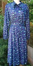 "Ladies dress size 16/39"" vintage 1970s blue with green & white abstract pattern"