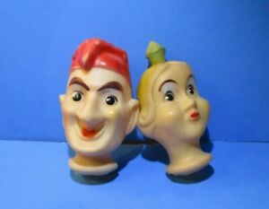 """2 Vintage Rubber Puppet Heads Punch From Punch And Judy And Princess 4"""" Tall"""