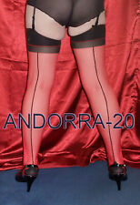 New Red Stockings With Contrast Black Seamed M/L