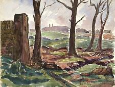 Paisaje pintura acuarela John thirtle FRSA 1942 Nash Estilo