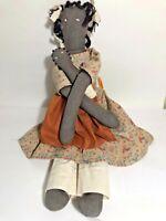 "Vintage Handmade Country Cloth Folk Art RAG DOLL 16"" Black Mother & Baby"