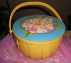 VIntage+Sewing+Basket%2C+Woven+Wicker+-+Painted+Wood+Top+Moveable++Handle+