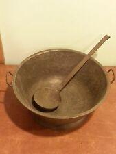 "Large 14.5"" Antique Kitchen Metal Tin Mixing Bowl Cauldron with Ladle"