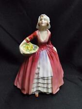 "Royal Doulton Figurine ""Janet"", HN1537, England, Red Dress, Basket, Flowers 6.5"""
